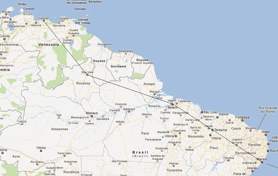 De Maceió-AL (SBMO)BR para Fort Lauderdale (KFLL)-EUA Americasul