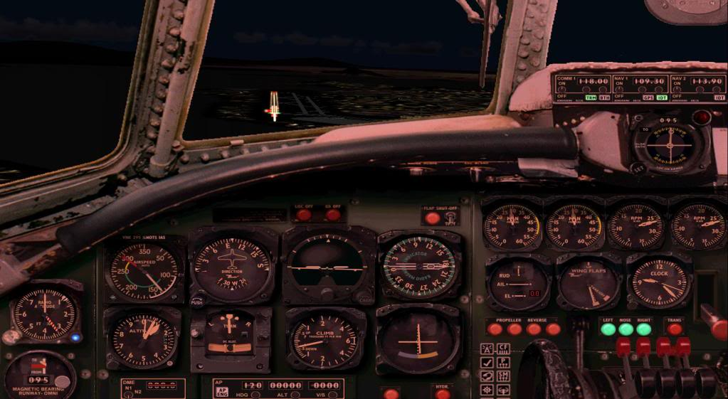 (FS9) Pouso noturno Super G Constellation PousoSuperGConstelation