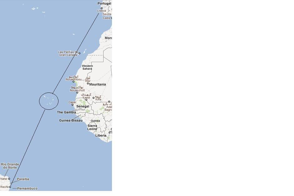 De Lisboa para Recife Rotalisboarecife