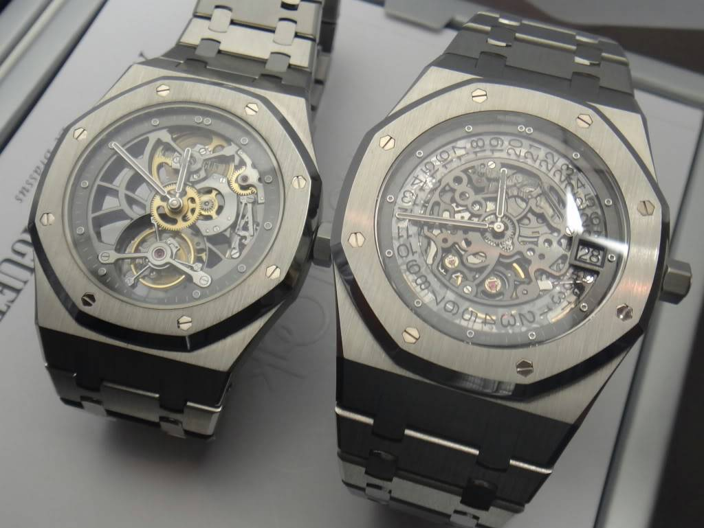 SIHH 2012 - Audemars Piguet Royal Oak Squelette et  Royal Oak Tourbillon Squelette 40 ans DSC01389