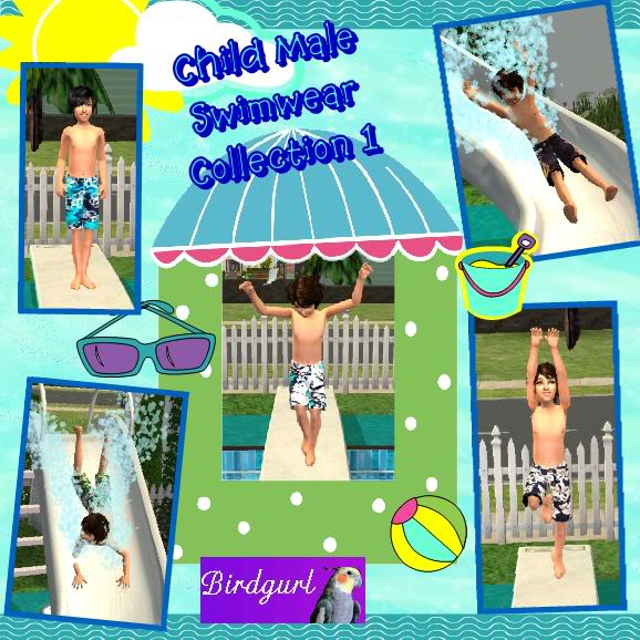 Birdgurl's Sims 2 Creations ChildMaleSwimwearCollection1banner
