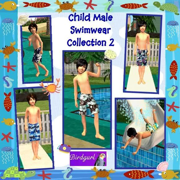 Birdgurl's Sims 2 Creations ChildMaleSwimwearCollection2banner