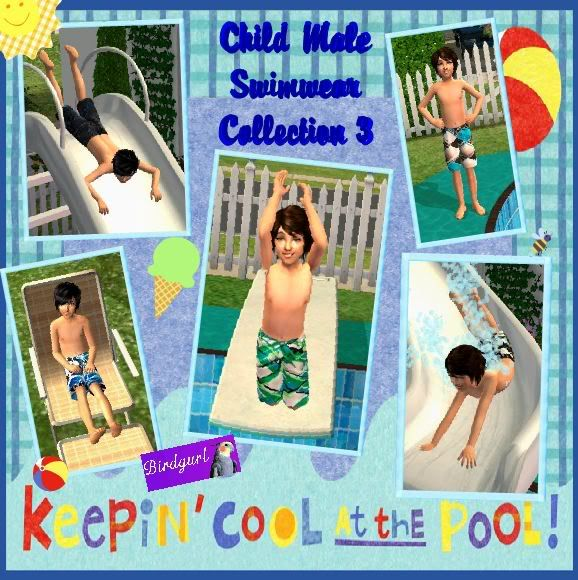 Birdgurl's Sims 2 Creations ChildMaleSwimwearCollection3banner