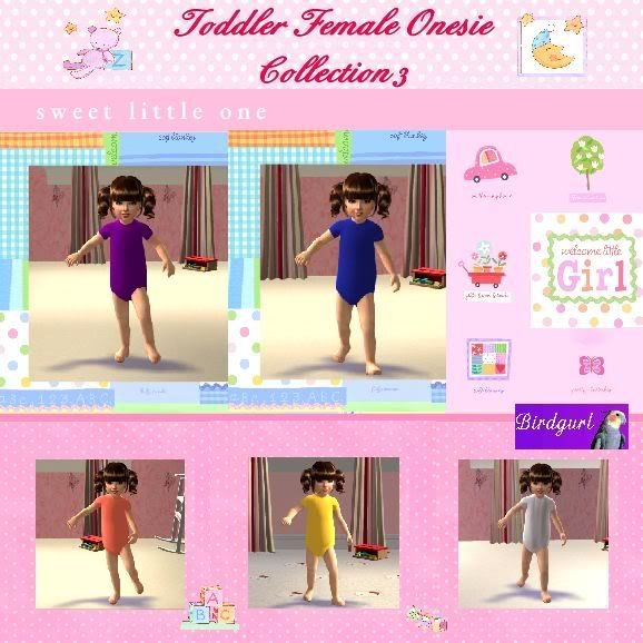 Birdgurl's Sims 2 Creations ToddlerFemaleOnesieCollection3banner