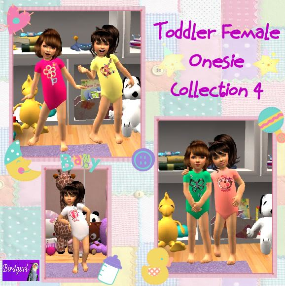 Birdgurl's Sims 2 Creations ToddlerFemaleOnesieCollection4banner