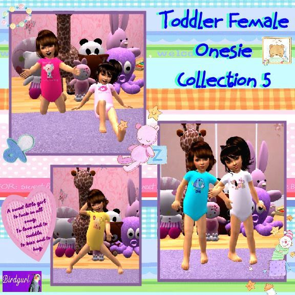 Birdgurl's Sims 2 Creations ToddlerFemaleOnesieCollection5banner