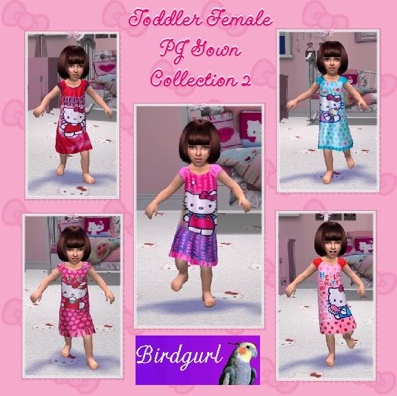 Birdgurl's Sims 2 Creations ToddlerFemalePJGownCollection2banner
