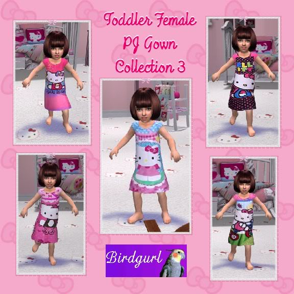 Birdgurl's Sims 2 Creations ToddlerFemalePJGownsCollection3banner