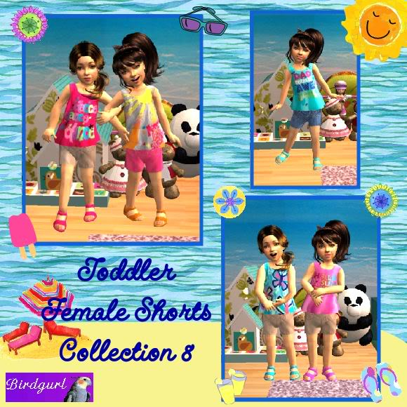 Birdgurl's Sims 2 Creations ToddlerFemaleShortsCollection8banner-1