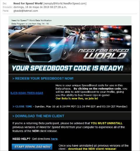 Me aceptaron en Need for Speed World Online Beta :D WB3