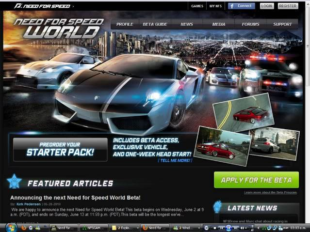 Me aceptaron en Need for Speed World Online Beta :D WB6