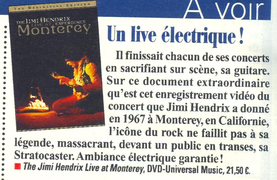 The Jimi Hendrix Experience Live At Monterey (DVD)  FranceDimanche