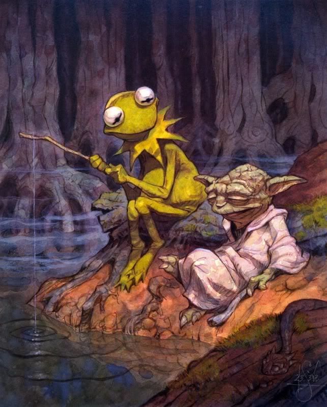 Favorite Artists The-Dagobah-Connection-by-Peter-de-Seve-kermit-the-frog-yoda-star-wars