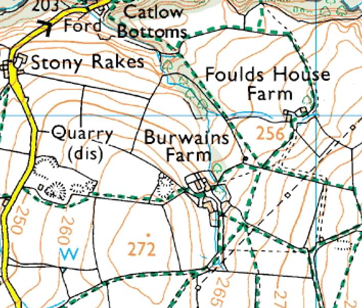Burwains Farm, Thursden - wherefore art the tombs? Burwainsfarmmap