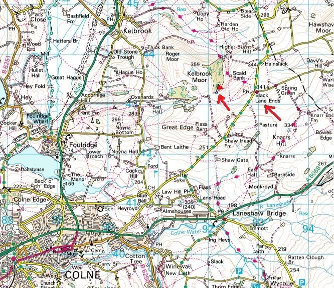THE DISSENTERS' WELL & TOM'S CROSS, Kelbrook Moor, Lancs-Yorks Border. Diswellmap