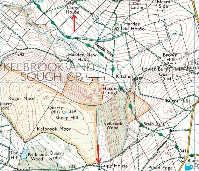THE DISSENTERS' WELL & TOM'S CROSS, Kelbrook Moor, Lancs-Yorks Border. X2Copysmap