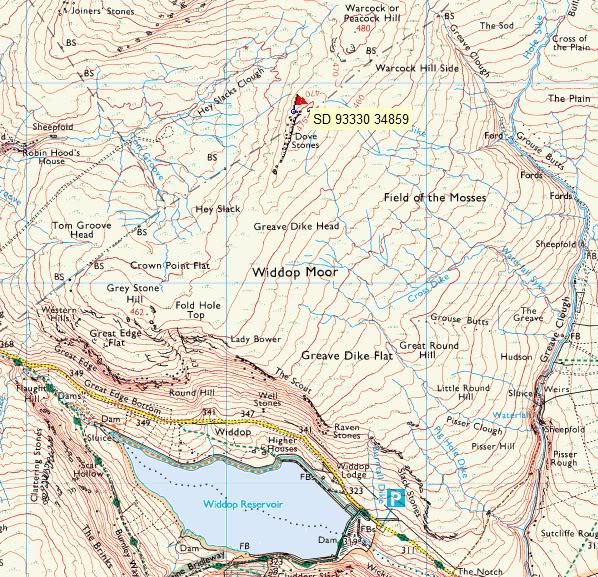 Dove Stones Widdop Moor Map