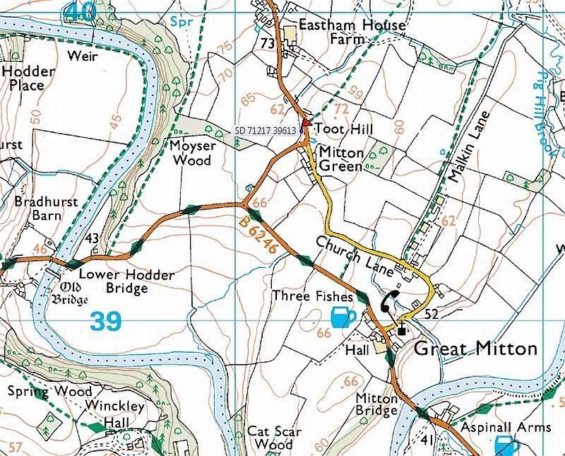 Cross base Nr. Mitton Green Map