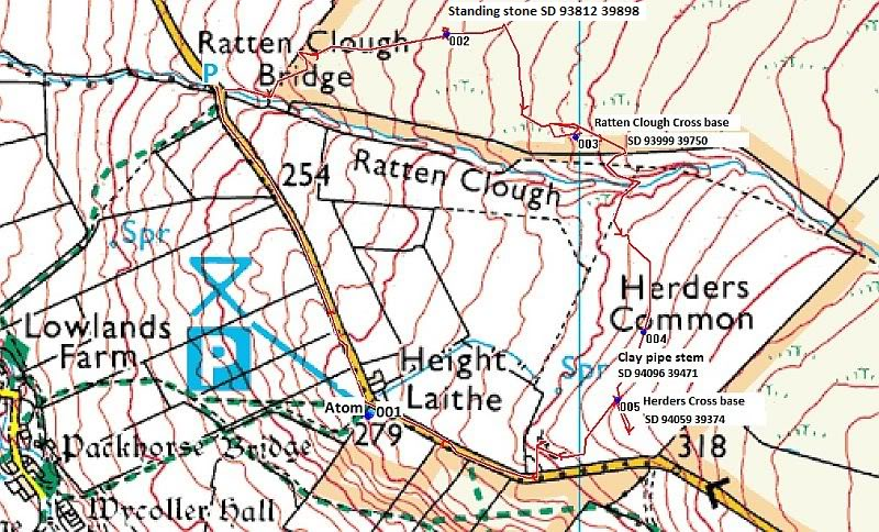 Standing stone North of Ratten Clough Map-2