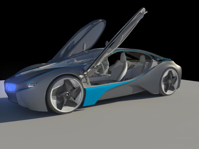 BMW i8 Vision Efficientdynamics prototype WIP using Autodesk Maya TestRender01-1