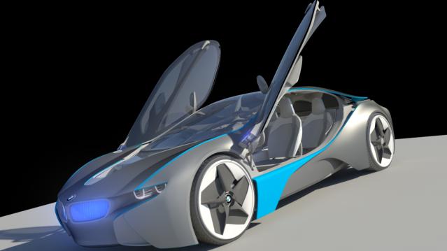 BMW i8 Vision Efficientdynamics prototype WIP using Autodesk Maya TestRender02-1