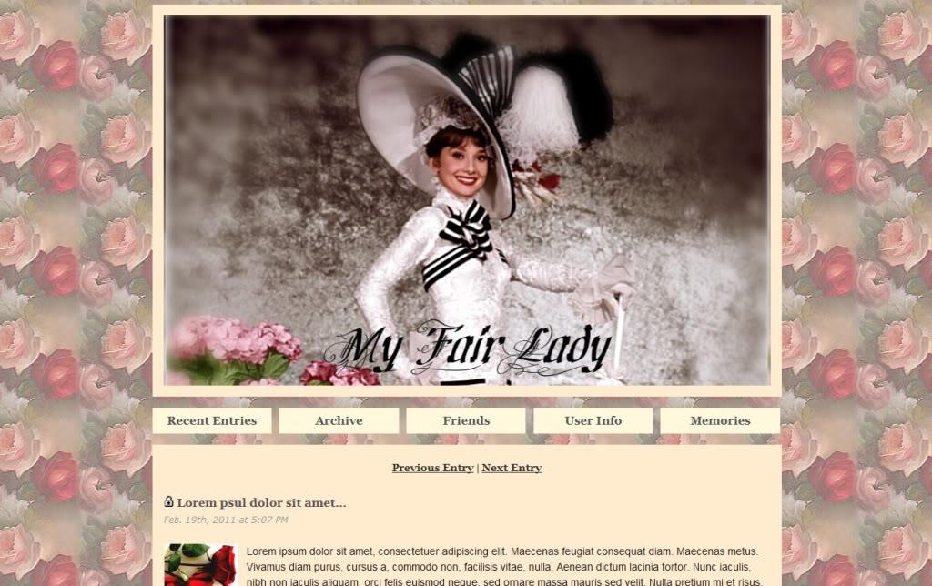 Une mise en page MY FAIR LADY pour LiveJournal MyFairLady