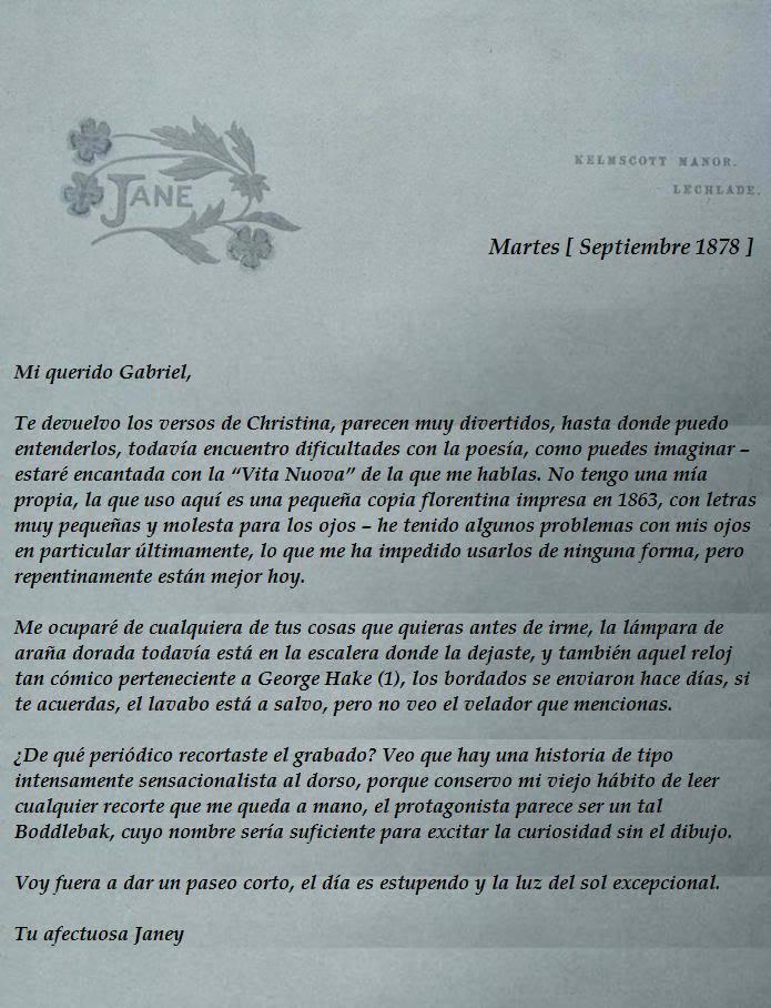 CORRESPONDENCIA PRIVADA ENTRE DANTE GABRIEL ROSSETTI Y JANE BURDEN MORRIS - Página 3 119