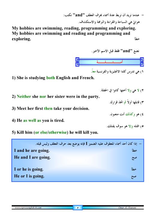 دورة متكاملة لقواعد اللغة الانجليزية للمبتدئين (الشرح باللغة العربية +امثلة+ اسلوب سهل وواضح) 3