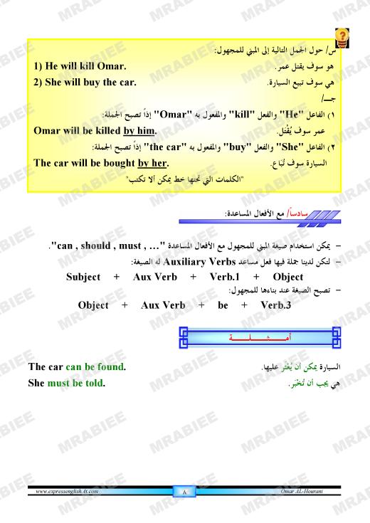 دورة متكاملة لقواعد اللغة الانجليزية للمبتدئين (الشرح باللغة العربية +امثلة+ اسلوب سهل وواضح) 8