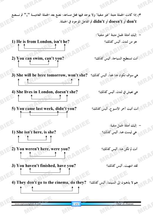 دورة متكاملة لقواعد اللغة الانجليزية للمبتدئين (الشرح باللغة العربية +امثلة+ اسلوب سهل وواضح) 16