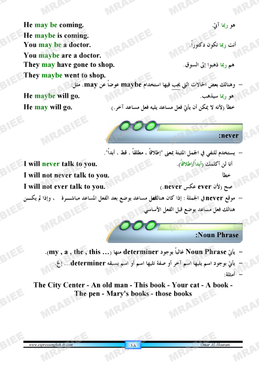 دورة متكاملة لقواعد اللغة الانجليزية للمبتدئين (الشرح باللغة العربية +امثلة+ اسلوب سهل وواضح) 18