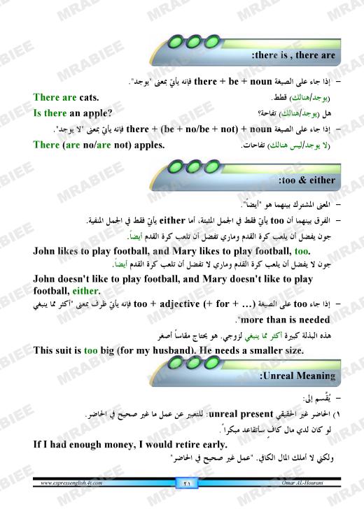 دورة متكاملة لقواعد اللغة الانجليزية للمبتدئين (الشرح باللغة العربية +امثلة+ اسلوب سهل وواضح) 21
