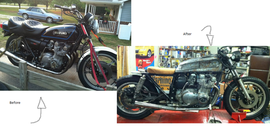 1979 Suzuki GS750 Cafe racer project turned to a rough rat bike instead Mix