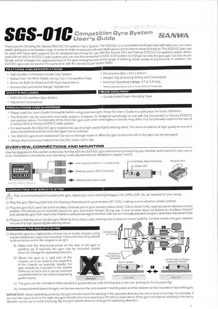 Sanwa Gyro sgs-01c english manual 3450_001