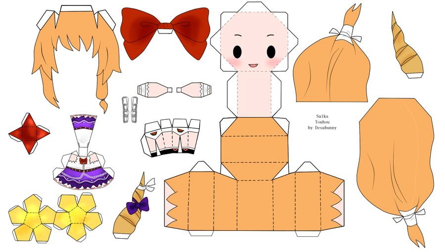 """Touhou Papercraft - Chơi figure kiểu """"con nhà nghèo"""" Touhou_Suika_Papercraft_by_desubunny"""