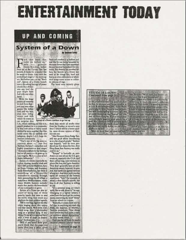 Интервью с первым ударником System Of A Down Andy Khachaturian SOAD_EntToday