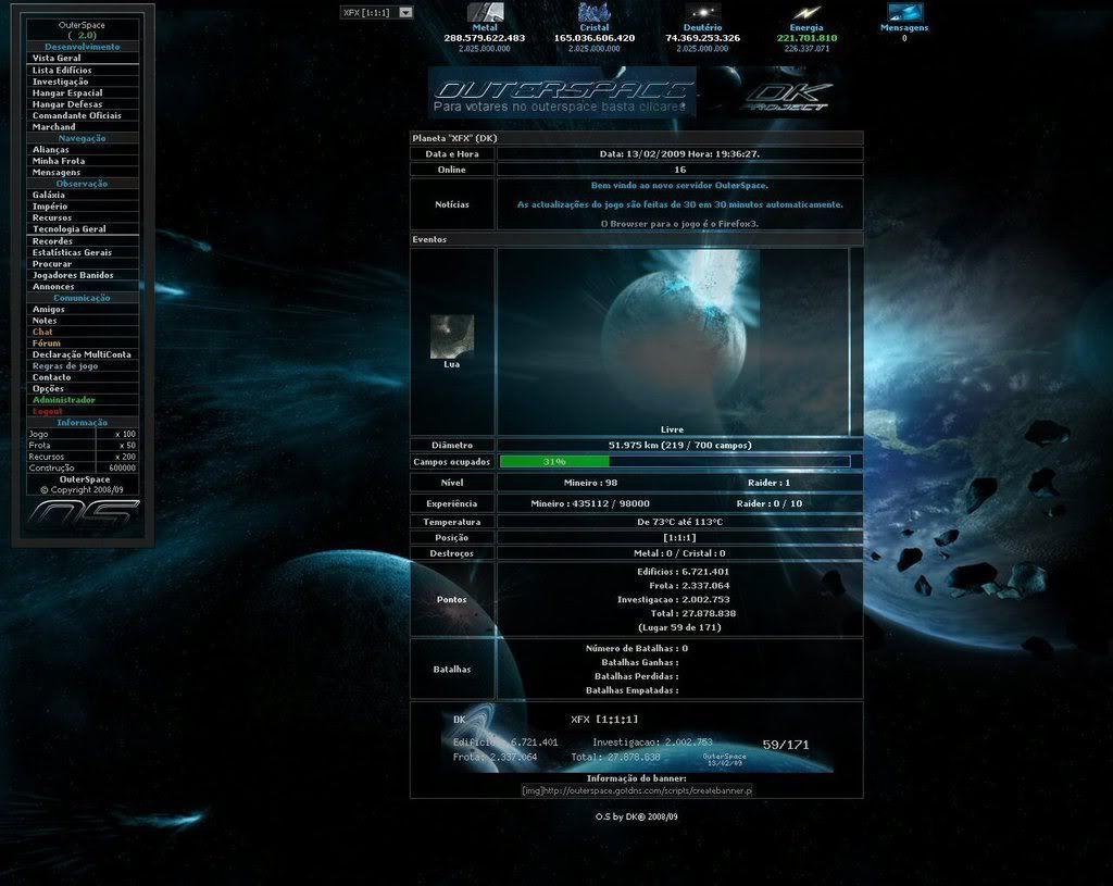 Sobre evolução de OuterSpace® DK_OUTERSPACE
