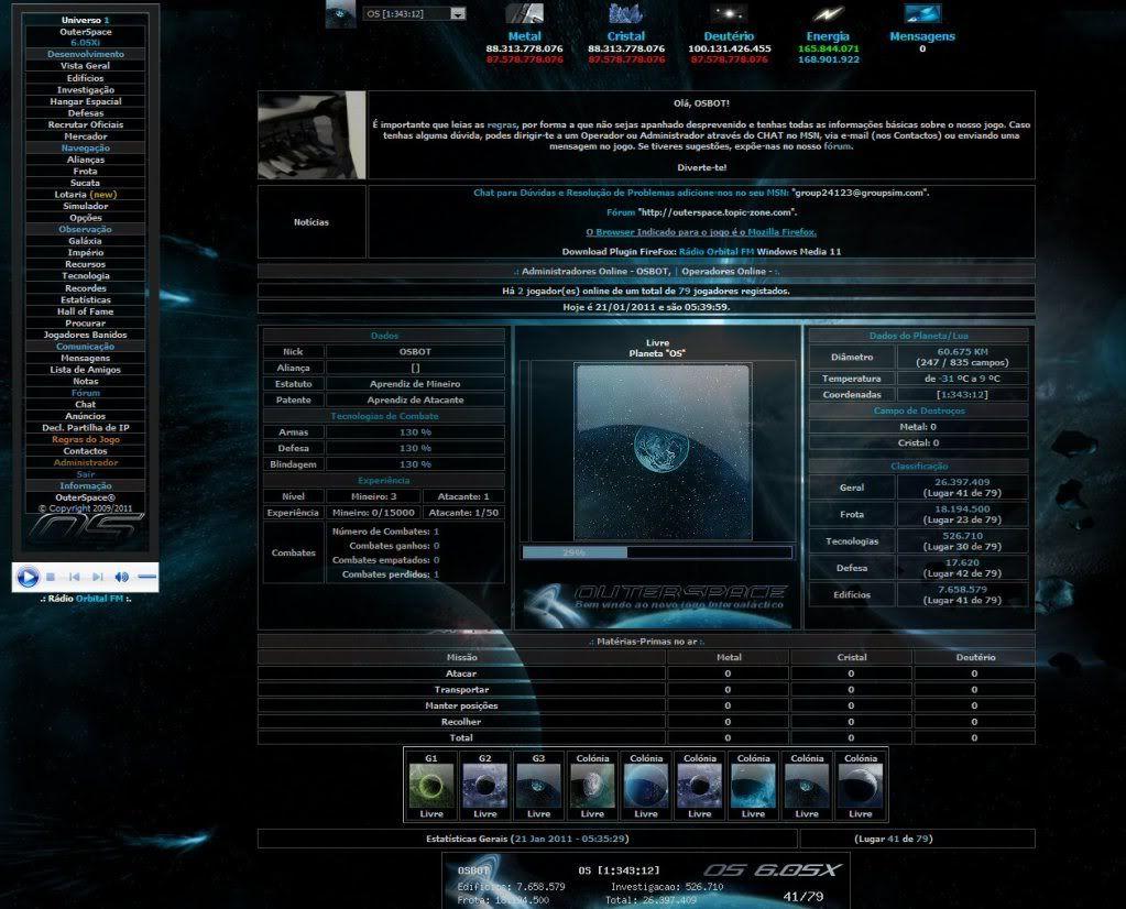 Sobre evolução de OuterSpace® OS60SXi