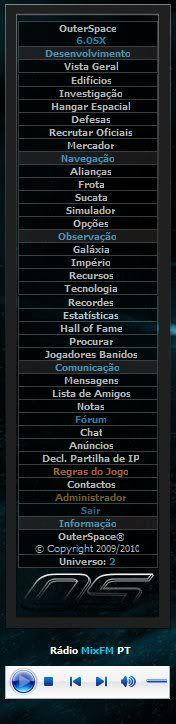 Menu de Rádio do OuterSpace PlayerOS