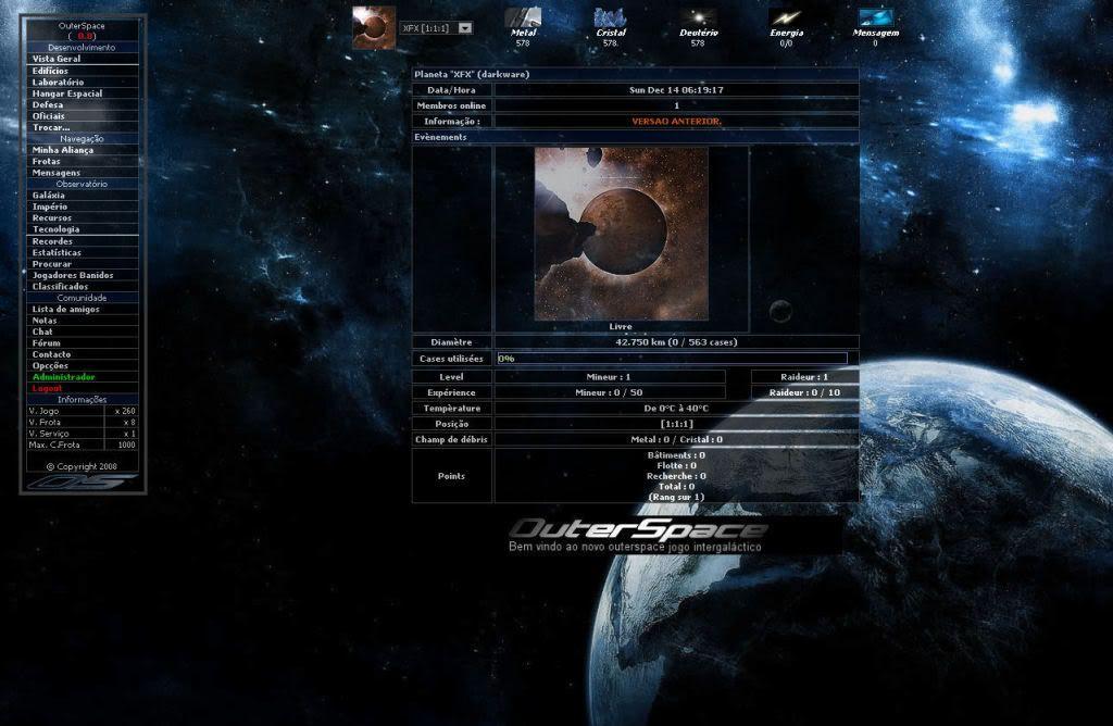 Sobre evolução de OuterSpace® VA