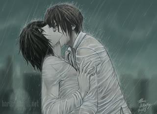 Kira & L YAOI__DN__Secret_In_The_Rain_by_Ho
