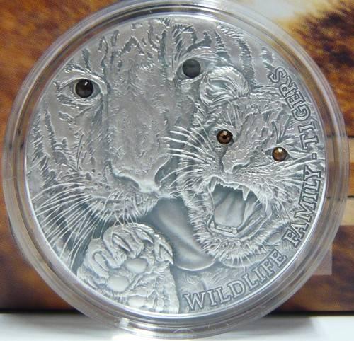 Tigers Wildlife Family Panthera Tigris Silver Coin 1$ 1 Oz Niue 2013 TigersWildlife_zpsba0e172a