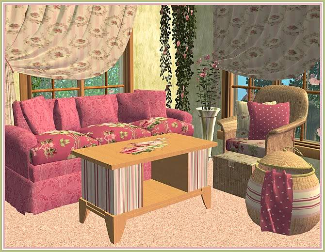 Experiment in Red & Gray Living and Aunt Sophie's Rosey Living @ Inspiring Sims AuntSophiesRoseyLivingforIS-closer1