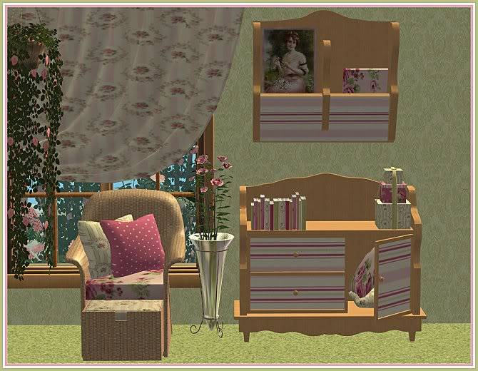 Experiment in Red & Gray Living and Aunt Sophie's Rosey Living @ Inspiring Sims AuntSophiesRoseyLivingforIS-closer2