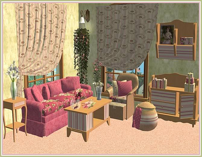 Experiment in Red & Gray Living and Aunt Sophie's Rosey Living @ Inspiring Sims AuntSophiesRoseyLivingforIS