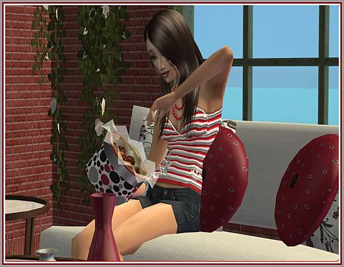 Experiment in Red & Gray Living and Aunt Sophie's Rosey Living @ Inspiring Sims ExperimentinRedGray-Chocolates-IS