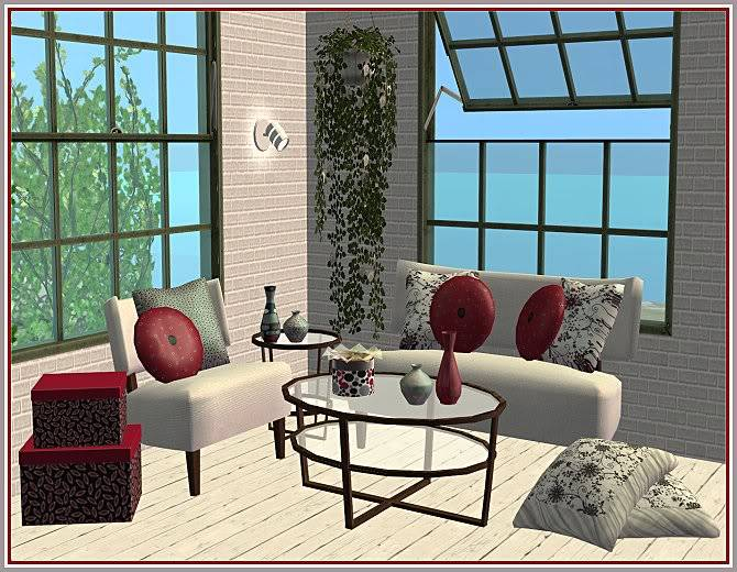 Experiment in Red & Gray Living and Aunt Sophie's Rosey Living @ Inspiring Sims ExperimentinRedGray2-IS