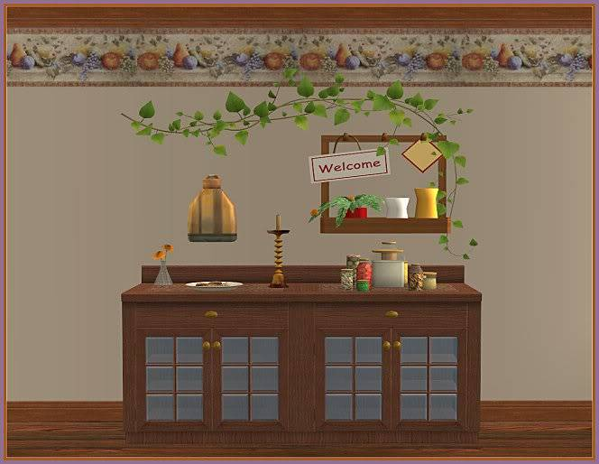 Keep Calm & Eat Cupcakes Kitchen and Inspired Kozy Kitchen Walls @ Inspiring Sims InspiredKKWall-ingame2