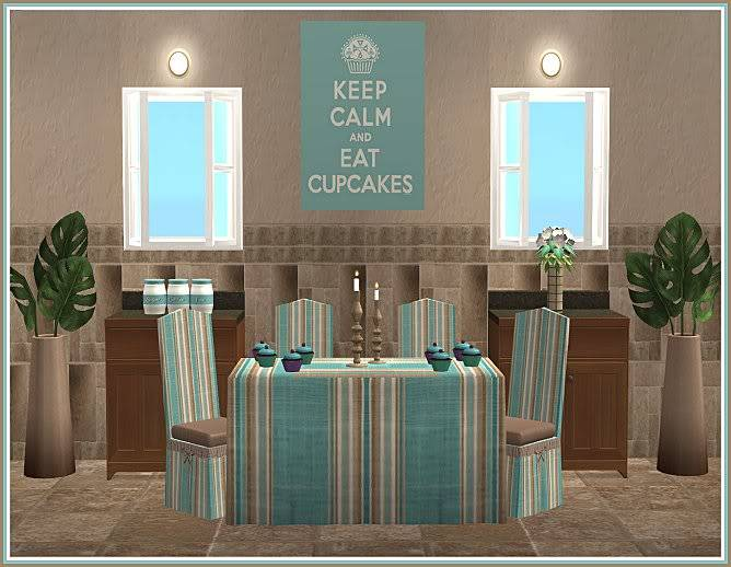 Keep Calm & Eat Cupcakes Kitchen and Inspired Kozy Kitchen Walls @ Inspiring Sims KeepCalmEatCupcakesDining