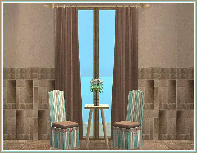 Keep Calm & Eat Cupcakes Kitchen and Inspired Kozy Kitchen Walls @ Inspiring Sims KeepCalmEatCupcakesDrapes
